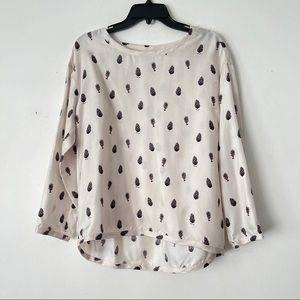 Bagutta XS 100% Silk Novelty Print Pullover Blouse